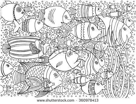 Hand drawn ink background with many fishes in the water. Sea life ...