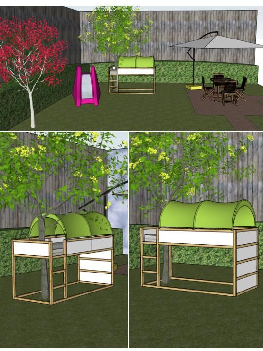 A tree house was my dream. Since I can't build one in my little garden, I'm going to use an old Ikea KURA bed as if it was a tree house!