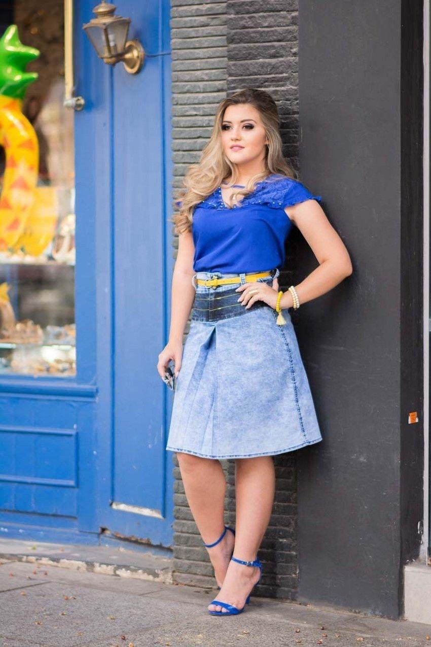 1425523c878 Saia Aquira da Raje Jeans ✓Troca Grátis. ✓ Melhores marcas de moda  evangélica.