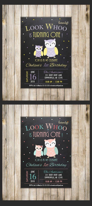 Chalkboard owl 1st birthday invitation owl birthday invite girls chalkboard owl 1st birthday invitation owl birthday invite girls birthday look whoo owl first birthday party mint ora owl themed birthday party filmwisefo