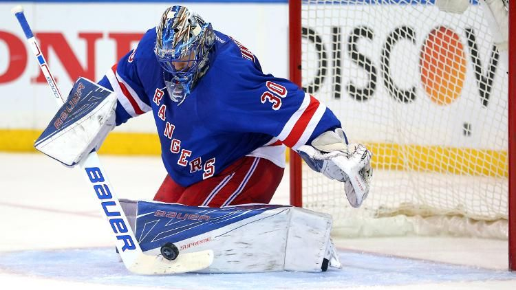 Apr 19, 2016; New York, NY, USA; New York Rangers goalie Henrik Lundqvist (30) makes a save against the Pittsburgh Penguins during the third period of game three of the first round of the 2016 Stanley Cup Playoffs at Madison Square Garden. The Penguins defeated the Rangers 3-1 to take a two games to one lead in the best of seven series. Mandatory Credit: Brad Penner-USA TODAY Sports (Brad Penner)