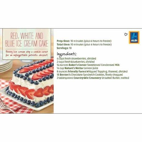 Freezer Red White And Blue Ice Cream Cake Aldi Ice Cream Cake Dessert Ingredients Ice Cream Cake Recipe