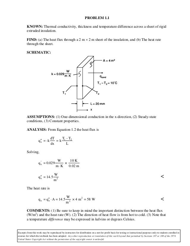 Problem 1 1 Known Thermal Conductivity Thickness And Temperature Difference Across A Sheet Of Rigid Extruded Insulation Ed Solutions Heat Flux Solutions