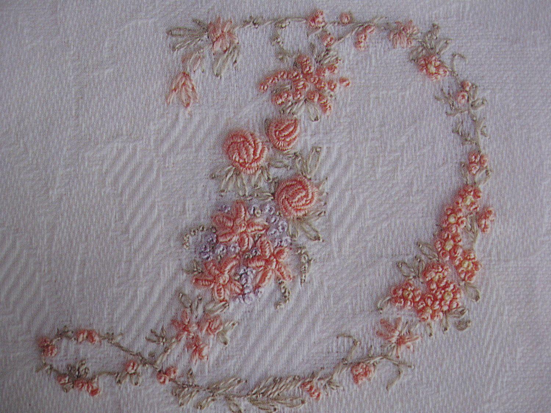 Vintage ladies handkerchief hand embroidery monogram