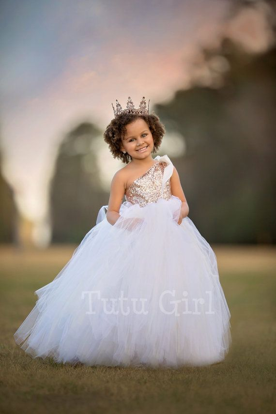 One Shoulder Flower Girl Dress Blush Gold And Off White Tutu