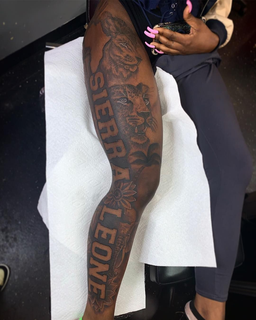 Tat Man Smush On Instagram Her 1st Tattoo Sat Like A Champ Session 2 Complete Girl Leg Tattoos Black Girls With Tattoos Dark Skin Tattoo