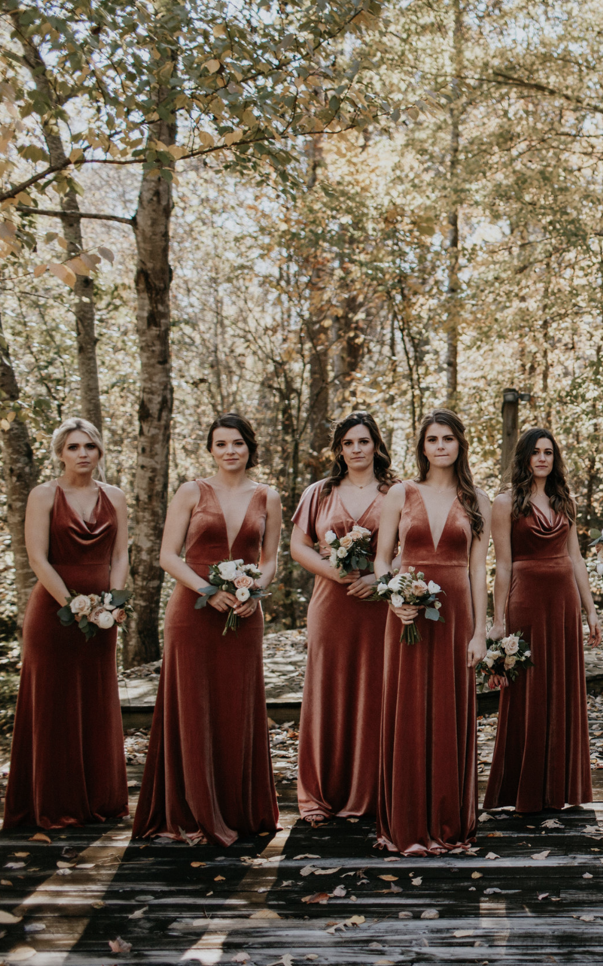 58b6bb3f2c8e Velvet bridesmaids by Jenny Yoo! Long modern bridal party dresses shown in  shades of dark