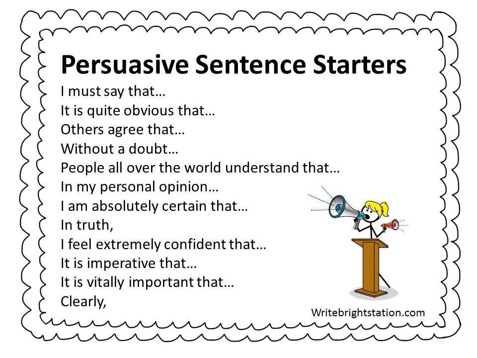 Persuasive Sentence Starters Persuasive Writing Sentence Starters Persuasive Text
