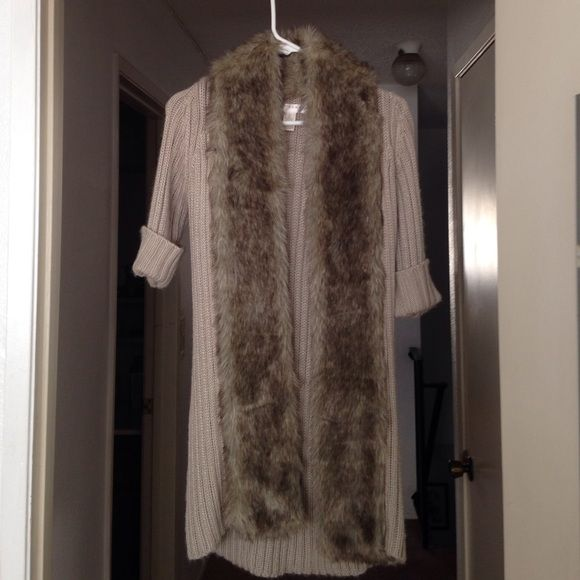 Knit Faux Fur Coat Like New. Faux Fur, long, knit coat. Only wore once. Kenar Sweaters