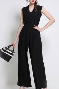 4932d5c91e8f Elegant Solid Sleeveless V Neck Jumpsuit in 2019