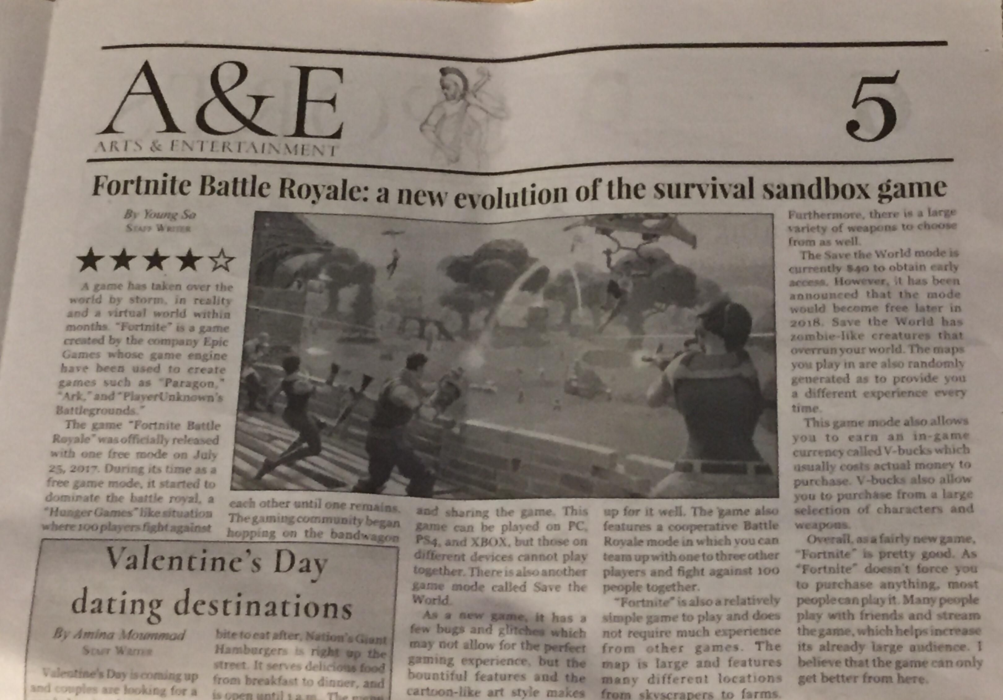 My School Newspaper Has An Article On Fortnite Latestgames