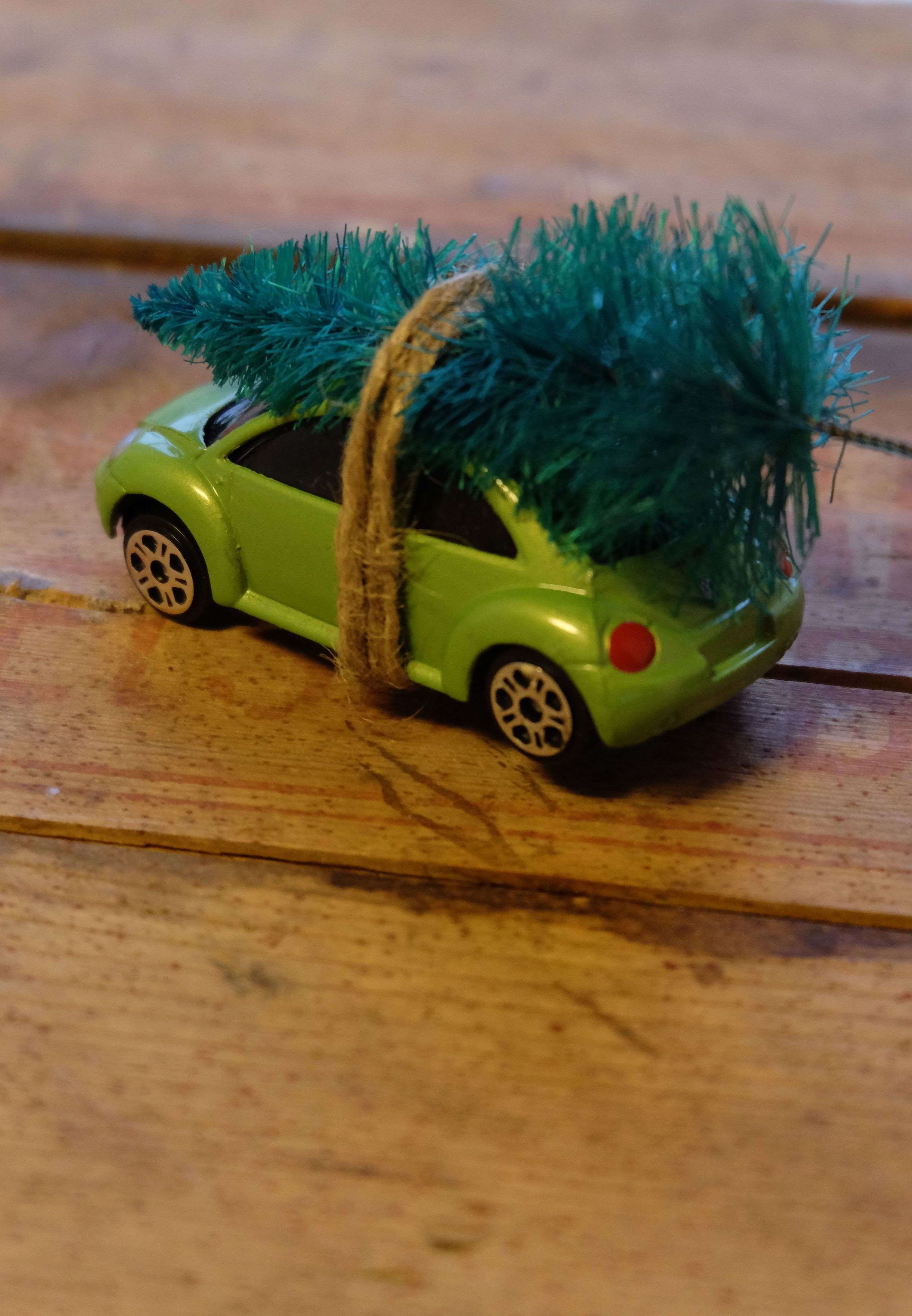 Cool stocking filler….I saw something similar to this on line, so I used one of my Son's cars and the lady at the local toy museum gave me some of their spare trees from their displays!