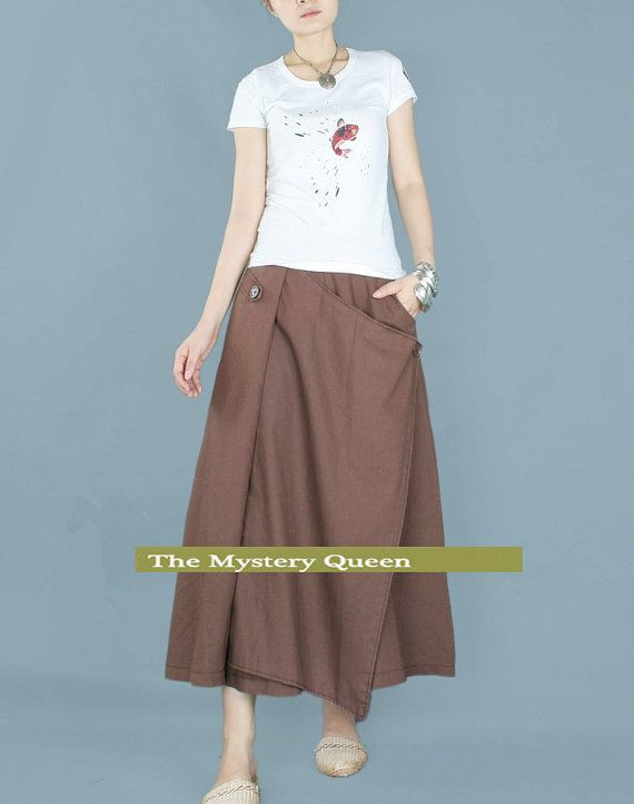 coffee women linen skirt casual loose skirt large size skirt plus size dress summer skirt 085