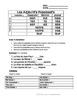 les adjectives possessive worksheet possessive adjectives french french class french class. Black Bedroom Furniture Sets. Home Design Ideas