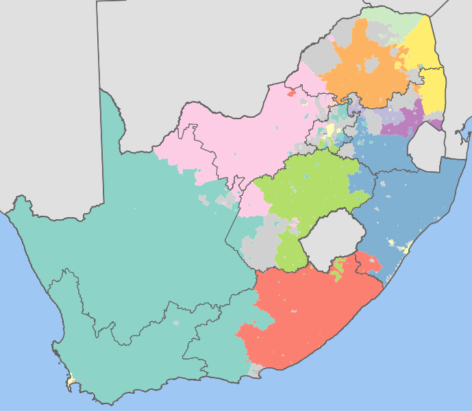 Map Of The Dominant Languages Of South Africa South Africa Map Languages Of South Africa Map