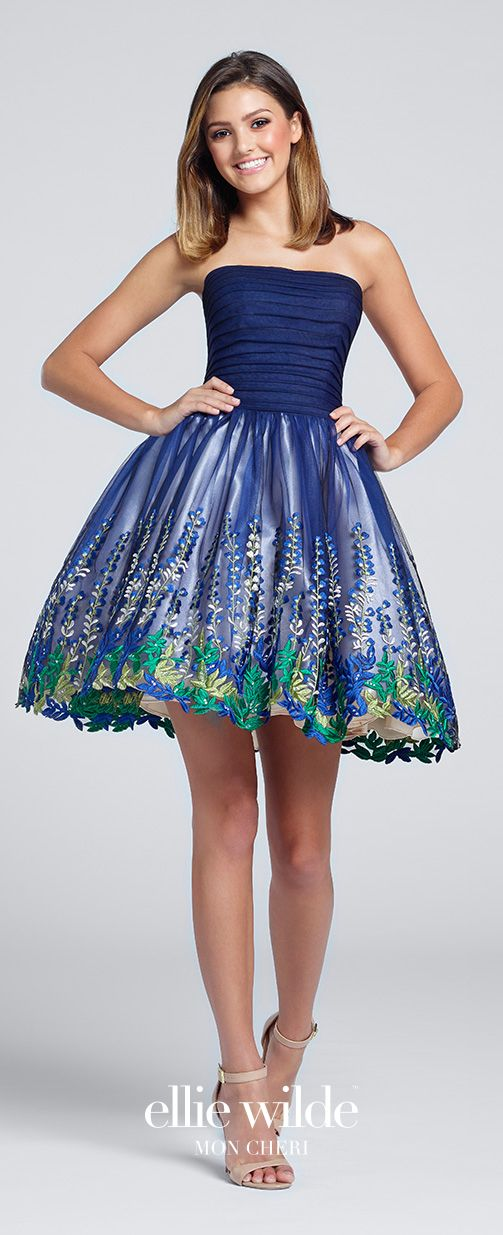 3663d9a6a Prom Dresses 2017 - Ellie Wilde for Mon Cheri - short blue floral prom dress  with ruched bodice and full tulle skirt - Style No. EW117147