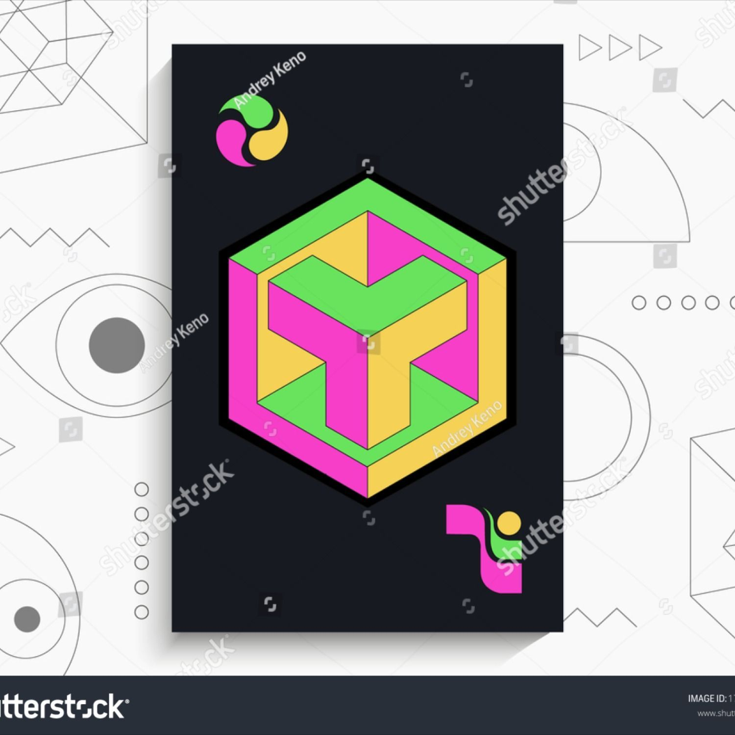 Photo of Abstract geometric poster. Geometric shapes, bright colors, elements on a black …