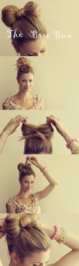 Hair bow bun, although I don't know if it works on super thin hair like mine....