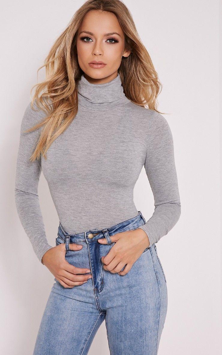 Cher Grey Roll Neck Long Sleeve Thong Bodysuit - Bodysuits -  PrettyLittleThing  70cac10b7