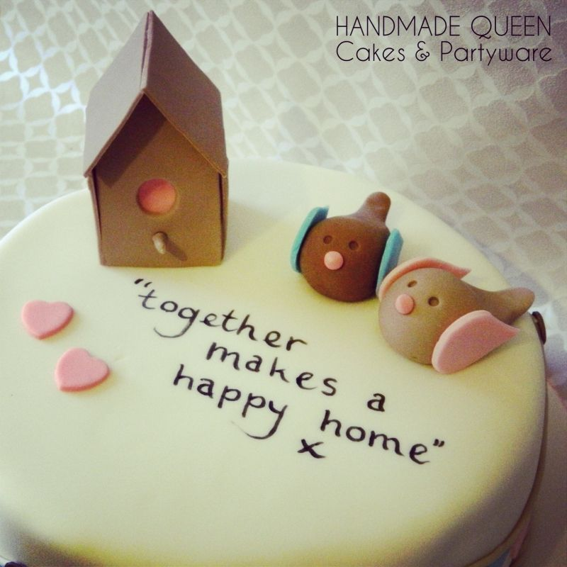 Love Birds New Home Cake With Handwritten Message