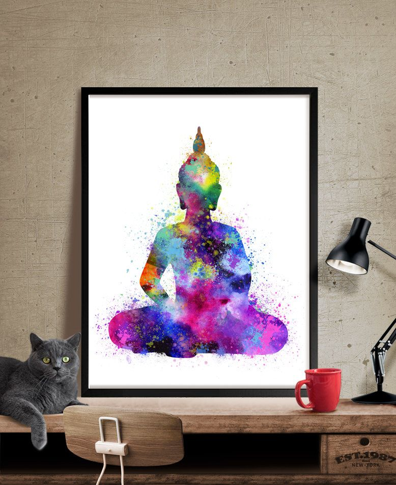 Buddha wall art buddha painting yoga print watercolor