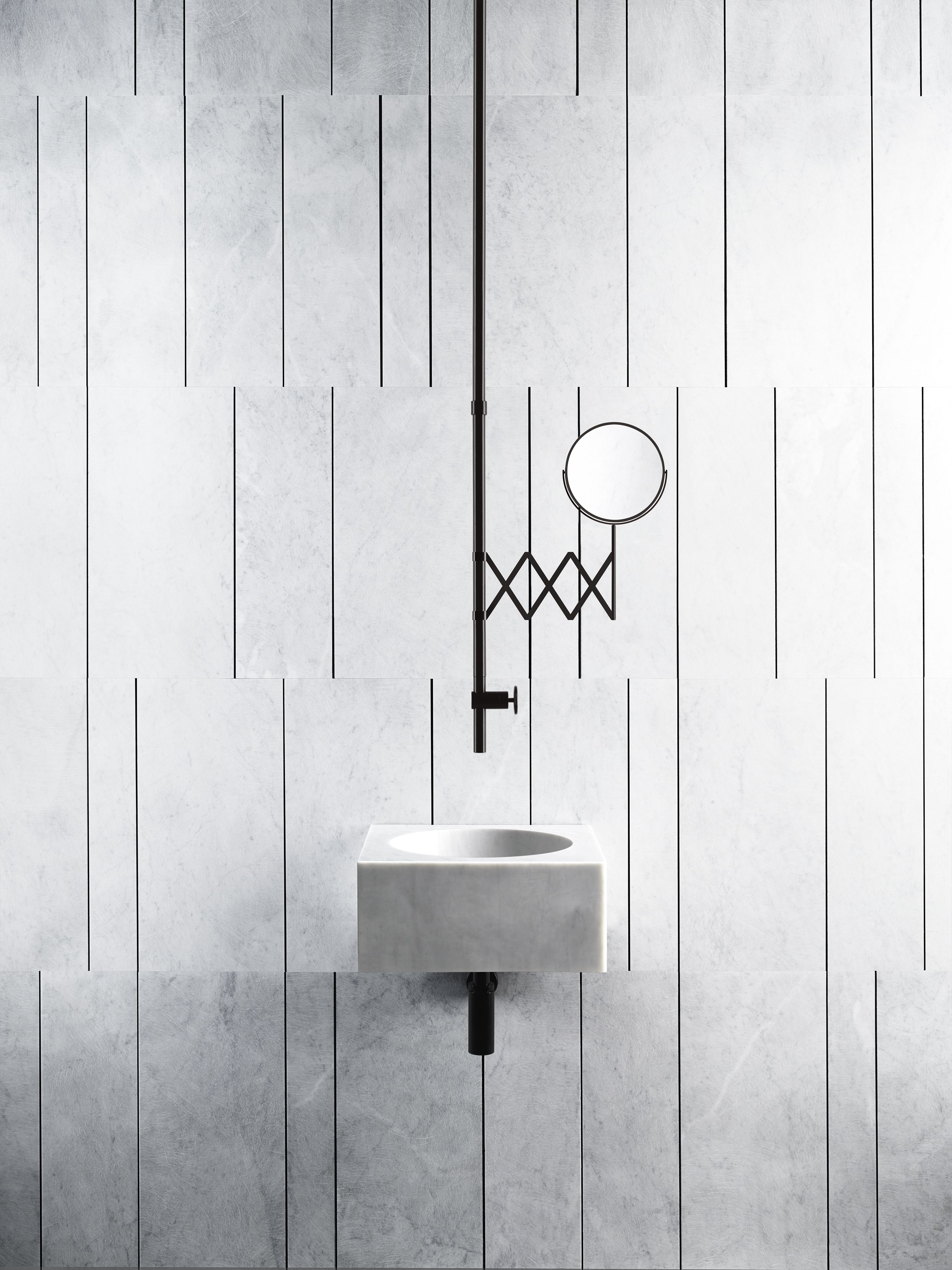 The series consists of delicate basins and modular storage units which take their inspiration from the Sicilian beach known as Fontane Bianche (White Fountains in English).  The collection also includes tapware, shower heads and other finishing touches, available from our partners in this project, Fantini.  Available in: Bianco Carrara, Gris du Marais, Pietra d'Avola and Crema d'Orcia.