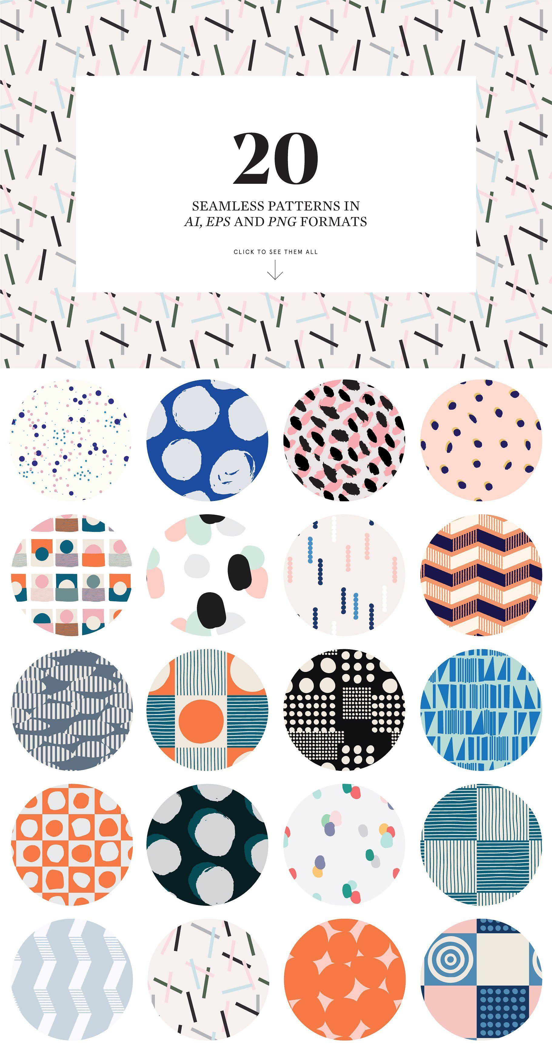 Abstract Scandinavian Pattern Set By Studioaurora On Creativemarket Graphic Patterns Pattern Design Inspiration Scandinavian Design Pattern