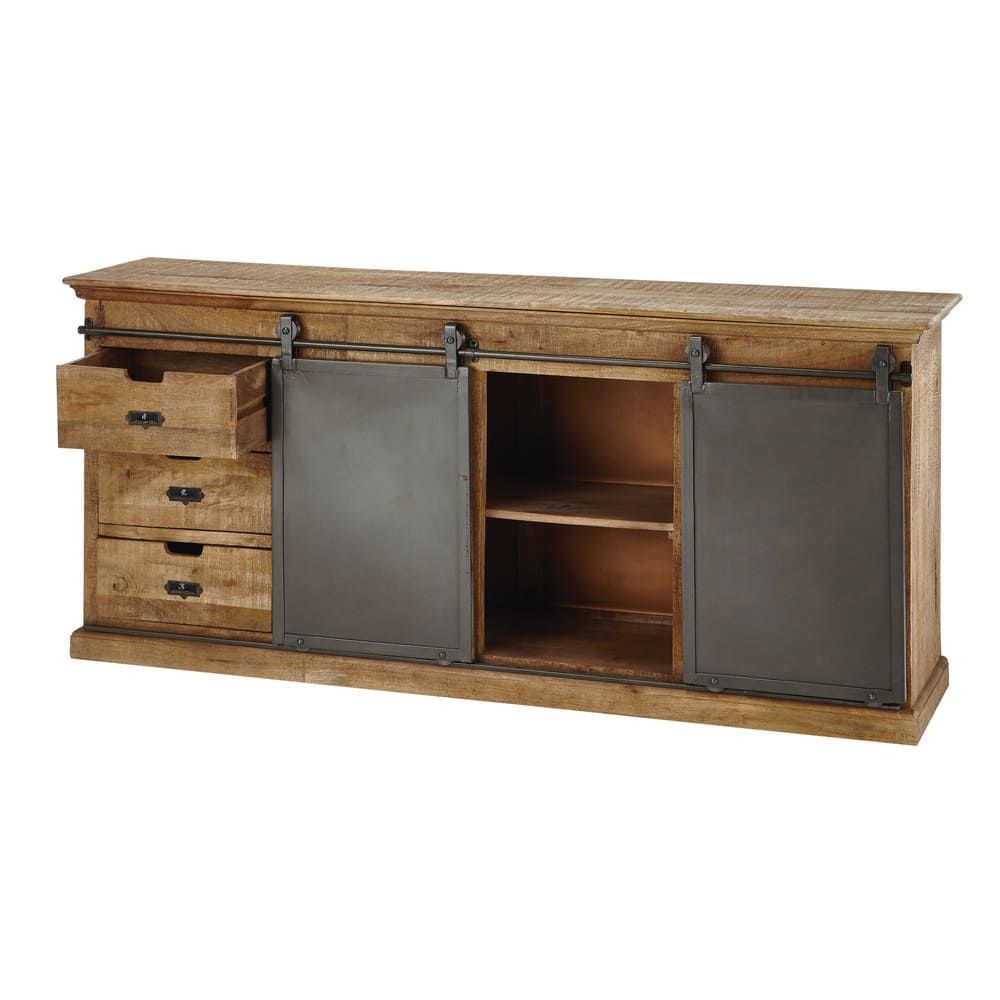 Solid Mango Wood Sideboard with 6 drawers and 2 sliding doors   Maisons du Monde