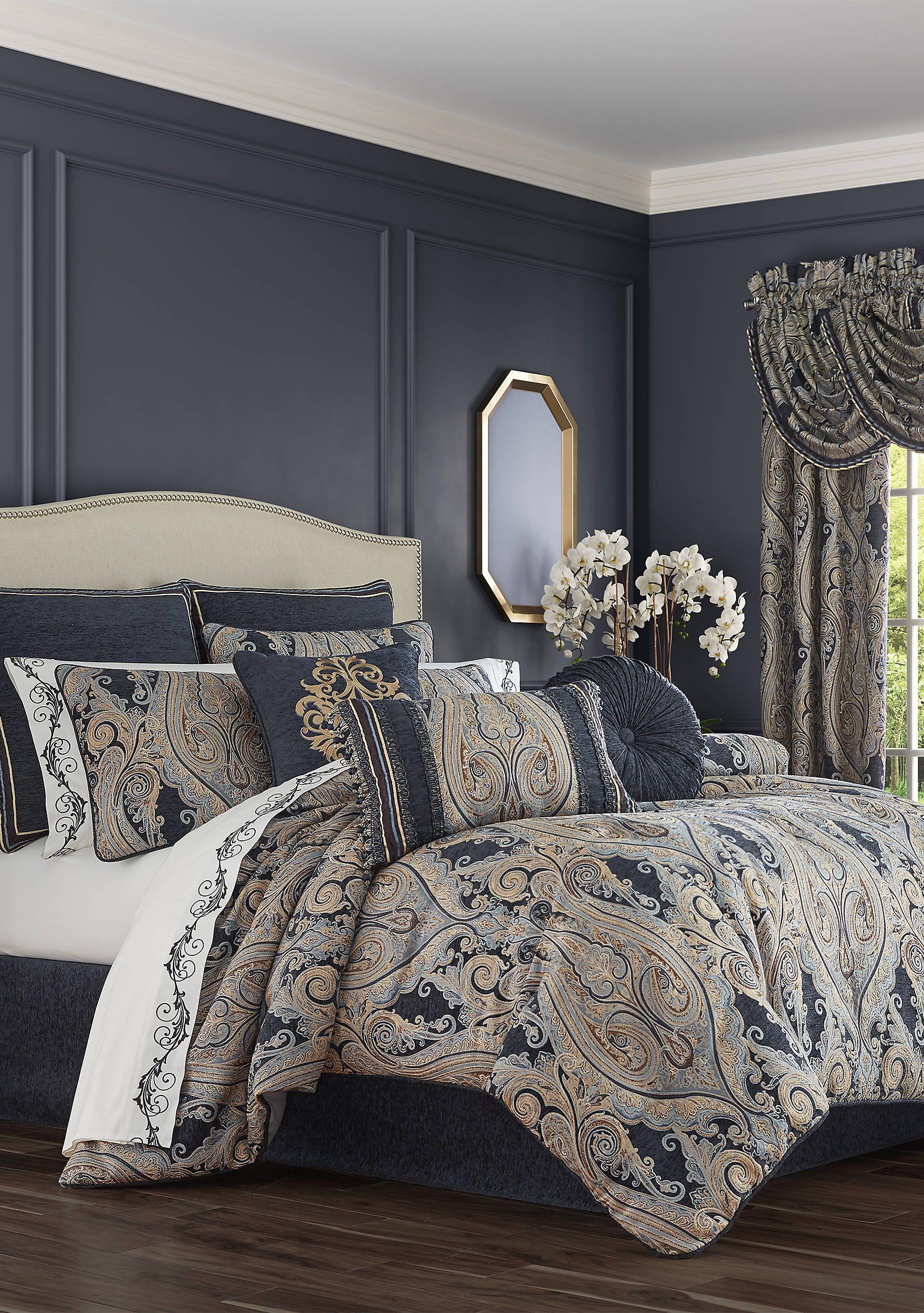 J Queen New York Luciana Indigo 4 Piece Comforter Set in