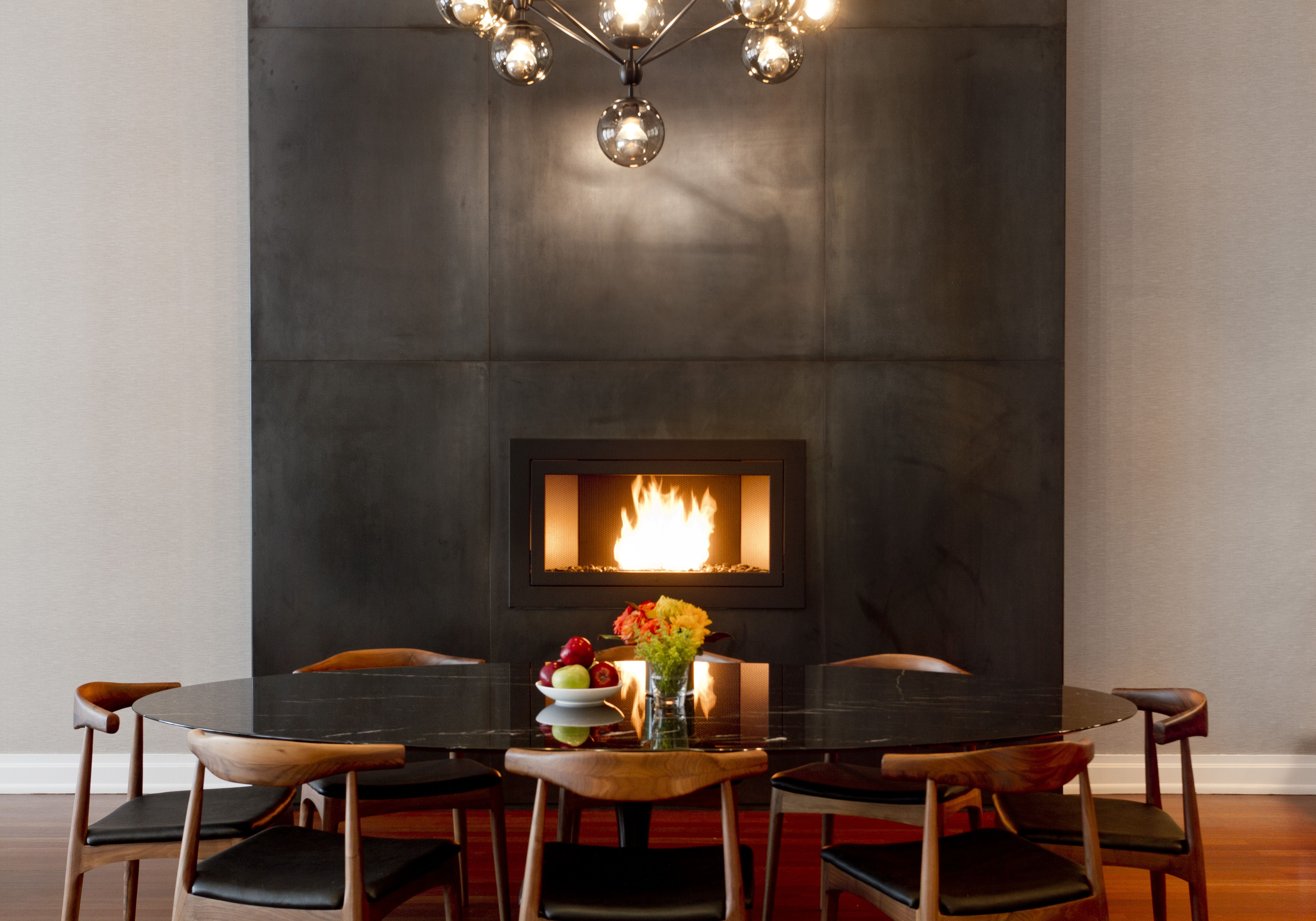 A Beautiful Fireplace Off The Kitchen Makes Dinner With Friends