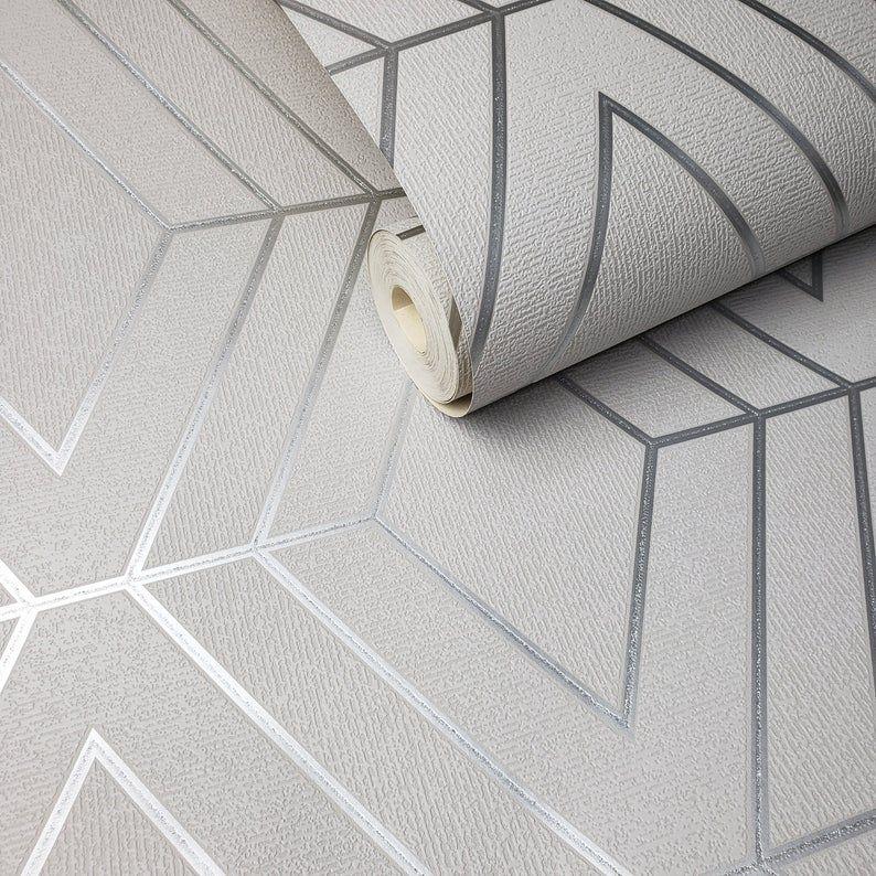 Glitter 3D Gray Silver Geo Geometric Triangle Roll