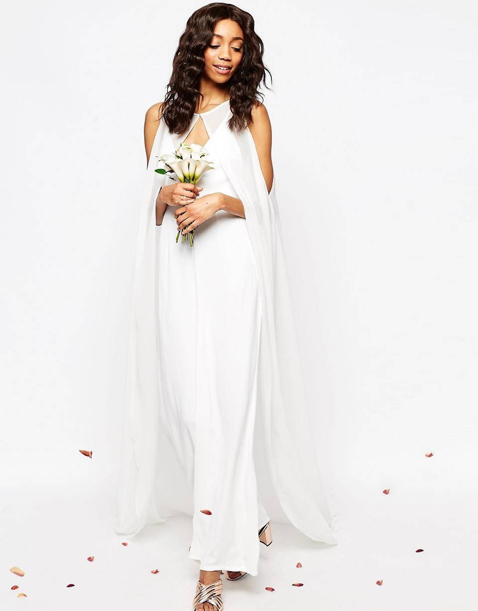 Asos bridal jumpsuit with detachable cape moda celebraciones