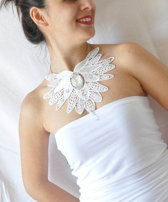 Ivory Lace Collar Necklace - Adora - Lace Bridal Necklace - Bridesmaid Gift- teamprojectt-statement