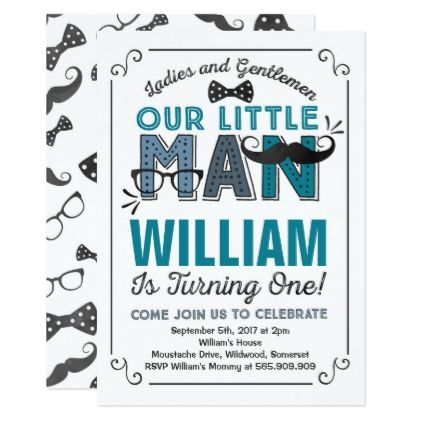 Little Man 1st Birthday Invitation Mustache Party giftidea gift