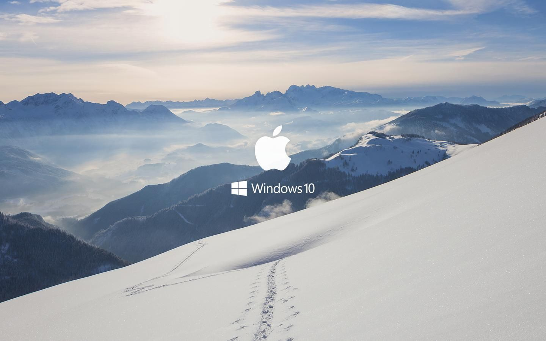 Minimal Snowy Mountain Apple Ft Windows 10 Wallpapers