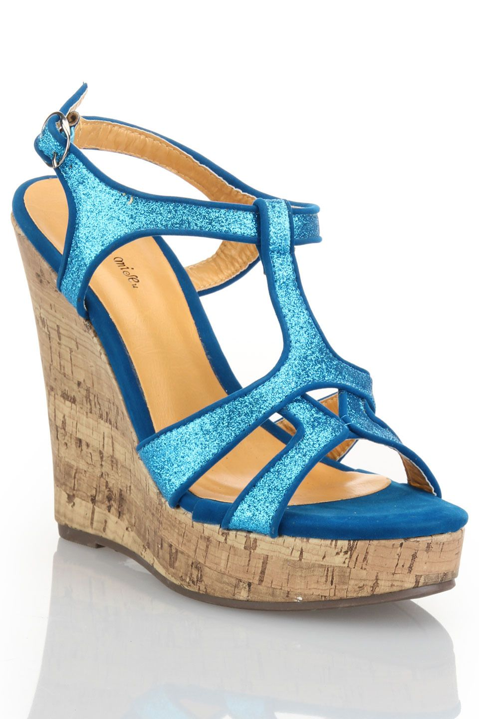 Shoe Republic Rockit T-Strap Glitter Wedge in Teal - Beyond the Rack $14.99