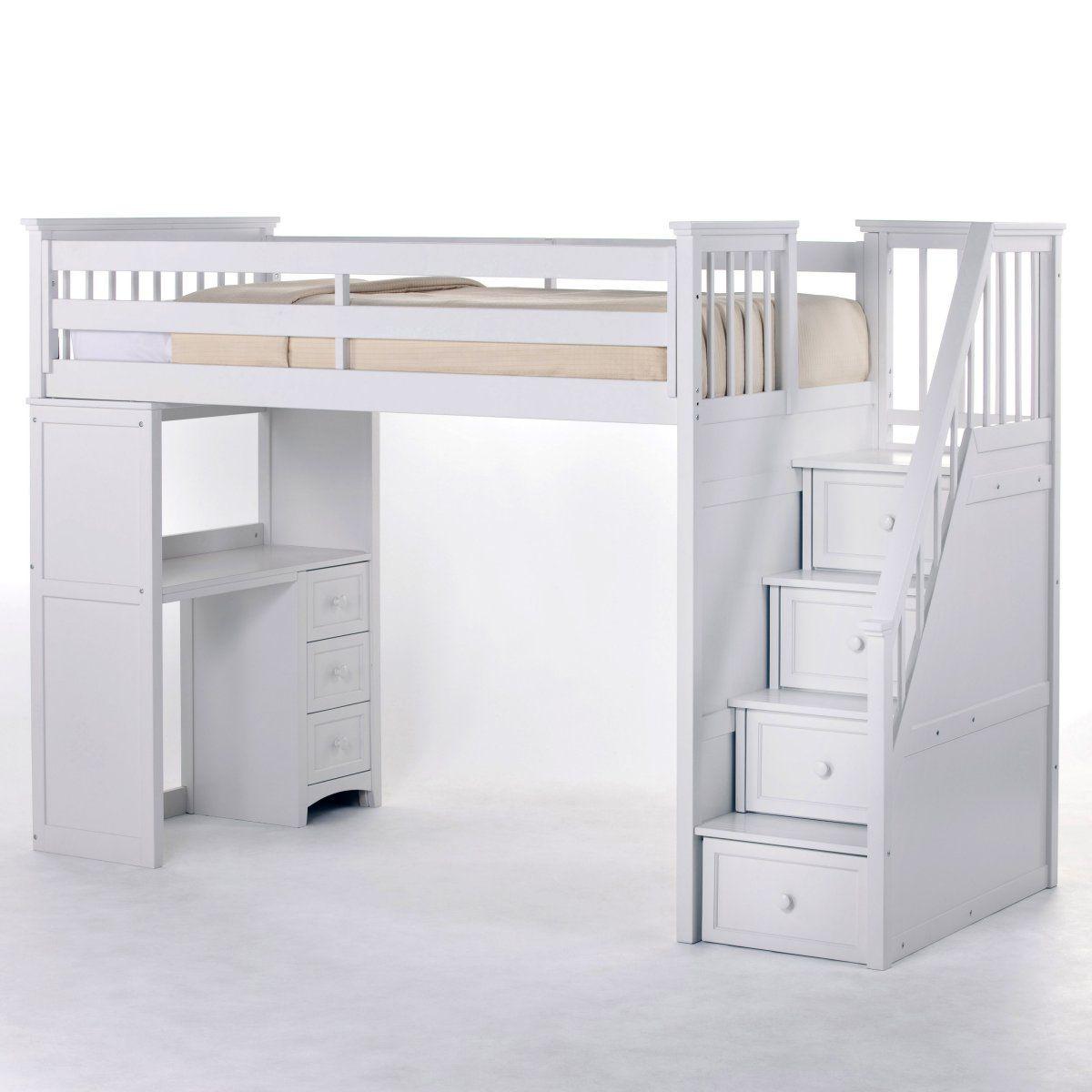 Best 1487 1782 Schoolhouse Stairway Loft Bed White Kids 640 x 480