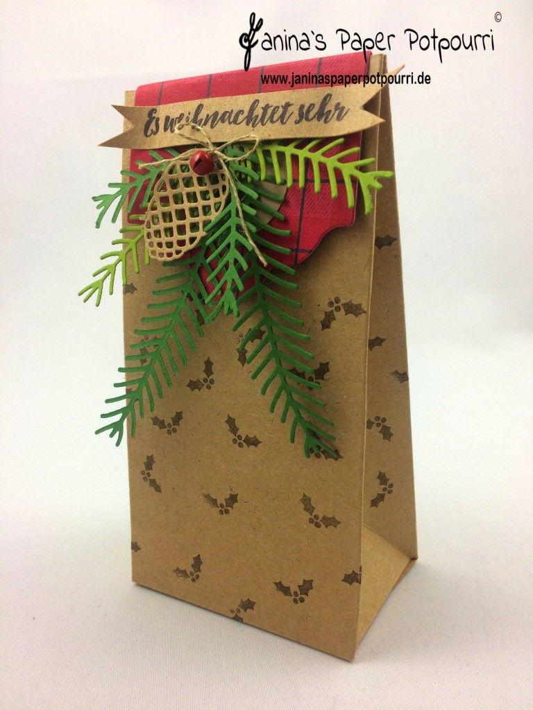 jpp - weihnachtliche Tüte / Verpackung / Tannenzweige / Weihnachten / Geschenktüte / rot / grün / Stampin' Up! Berlin /  Tannenzauber / Tannen und Zapfen / Etikett Kollektion / Dekoratives Etikett  www.janinaspaperpotpourri.de