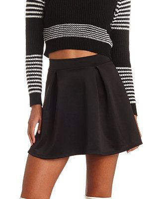 High-Waisted Pleated Skater Skirt: Charlotte Russe