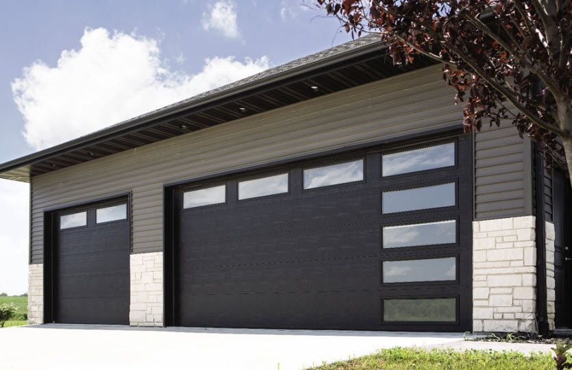 Modern Garage Door With Brown Steel In 2020 Modern Garage Doors Modern Garage Contemporary Garage Doors