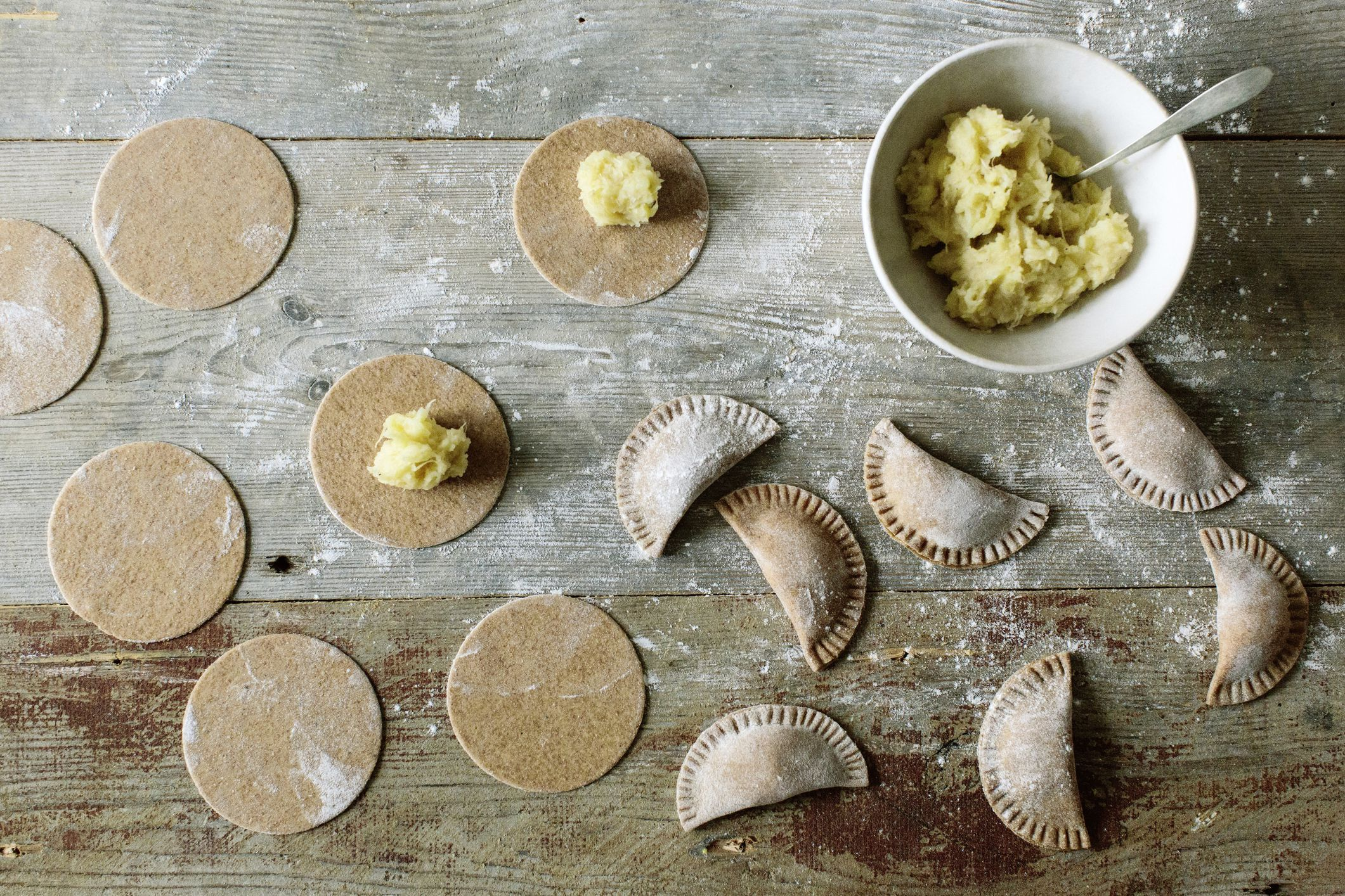 vegan pierogi dough recipe uses no eggs and no dairy in the recipe. It is made with flour, oil, salt, and water. Included are links to vegan fillings.