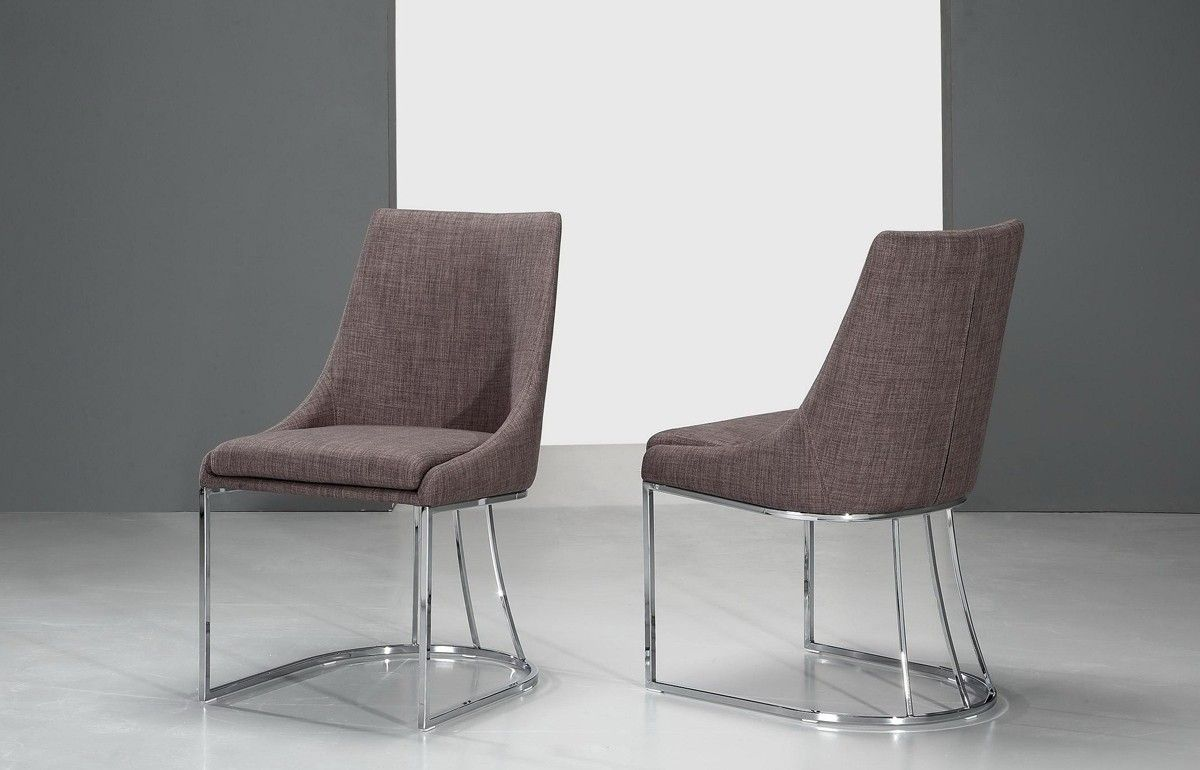 Itasca Modern Grey Fabric Dining Chair Set Of 2 Fabric