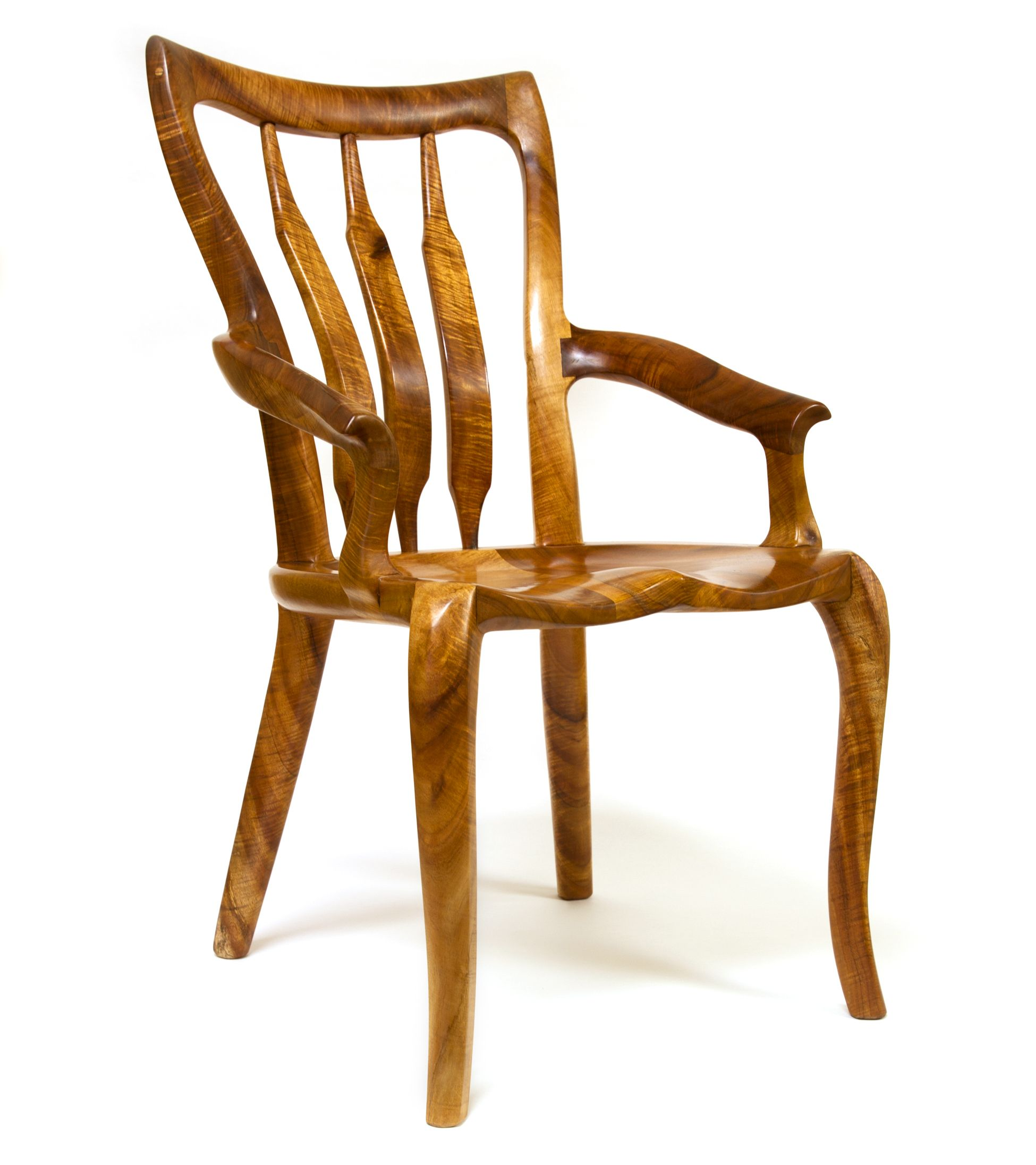 Sculpted Chair, With Arms, In Koa