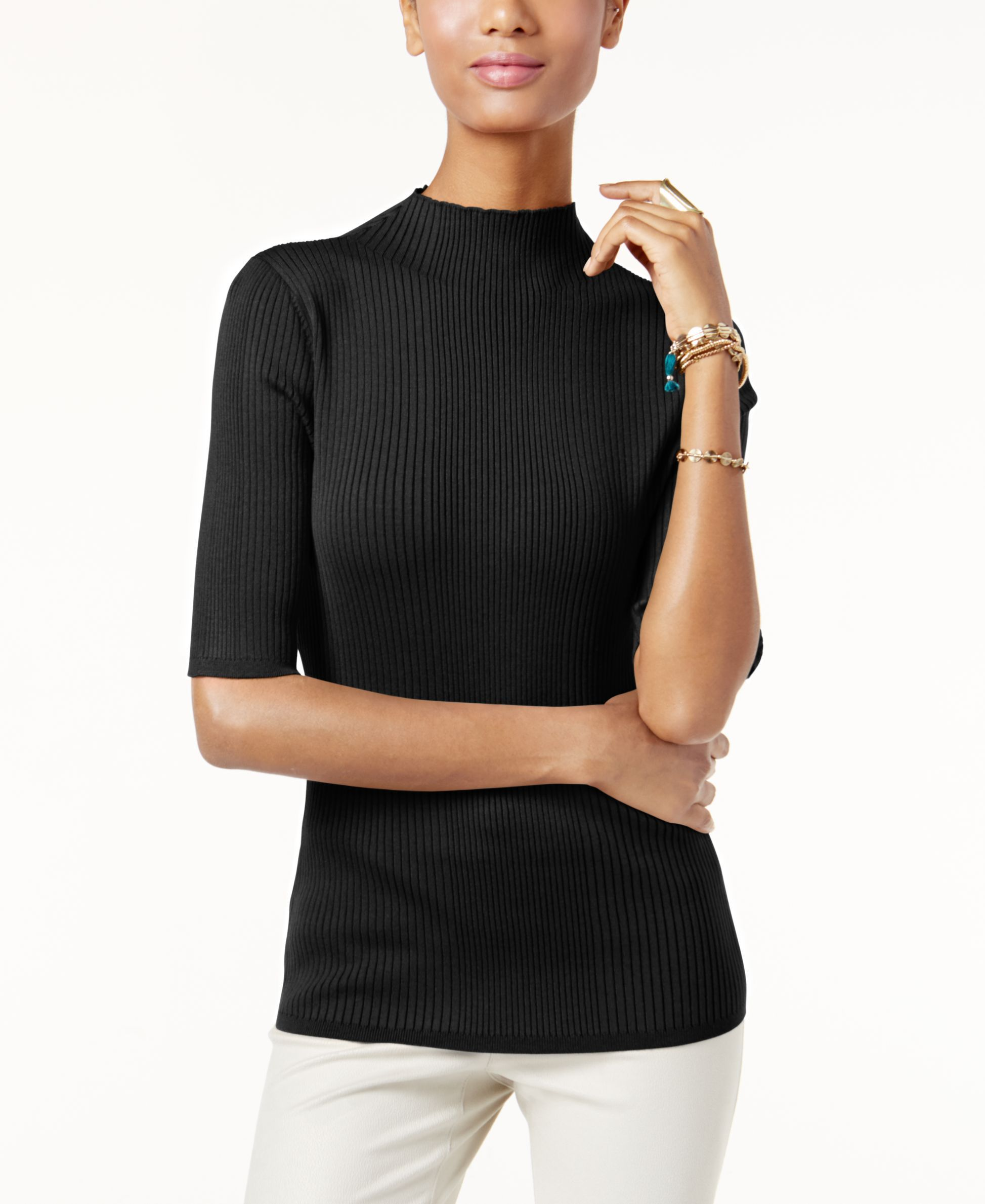 Inc International Concepts Mock-Turtleneck Ribbed Sweater, Only at Macy's