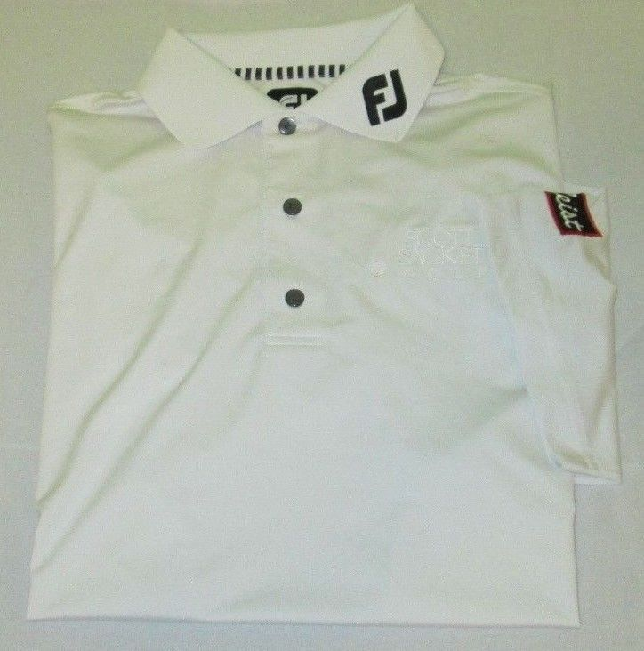 staff issue footjoy golf shirt s small white titleist
