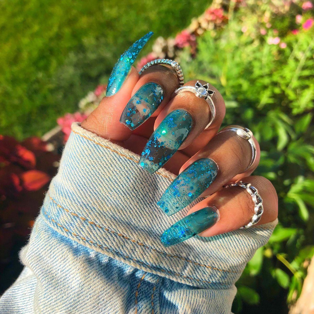 blue jelly with blue halo glitter any nail shape fake nails shown image long coffin important p jelly nails wedding acrylic nails winter nails acrylic pinterest
