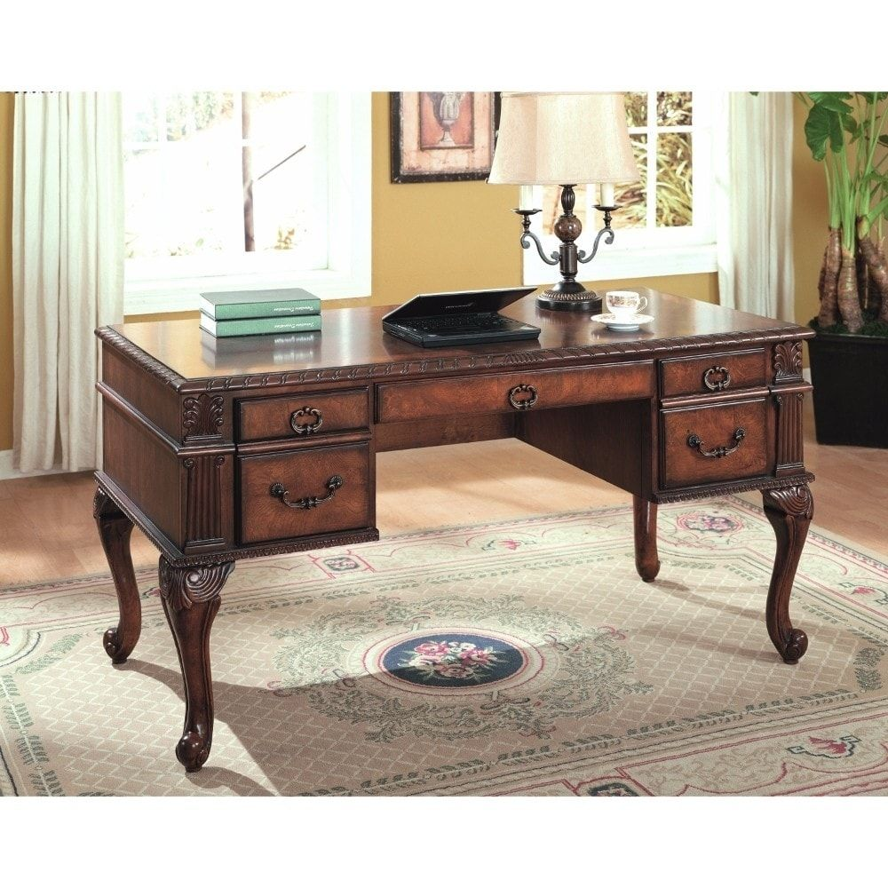 Benzara executive home office desk cherry brown size medium