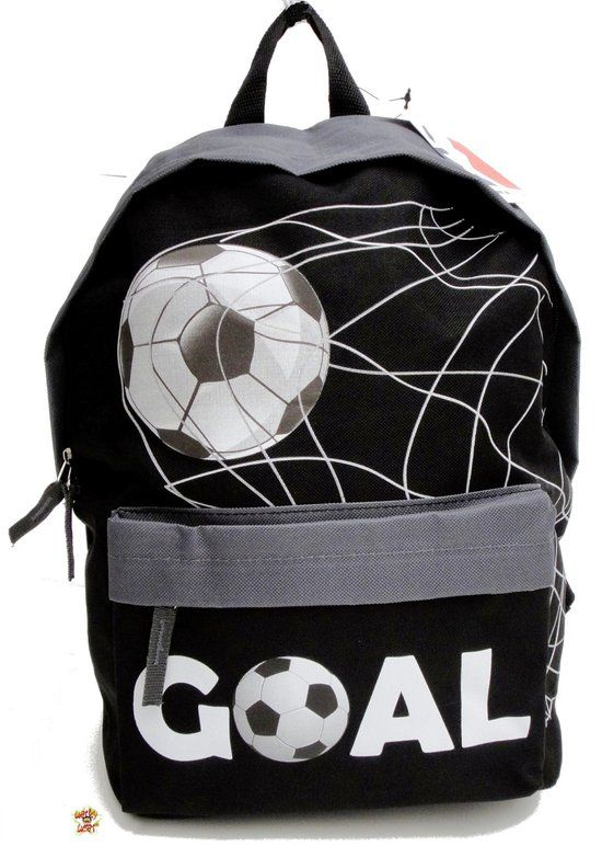 0d6273a12e1 Run Away Goal! VOETBAL Rugzak Rugtas Schooltas Zwart grijs Stoer ...