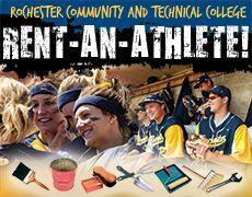 Rent An Athlete Fundraiser For Softball And Baseball Programs At Rctc Oct 26 27 And Nov 2 3 Baseball Fundraiser Softball Fundraising Football Fundraiser