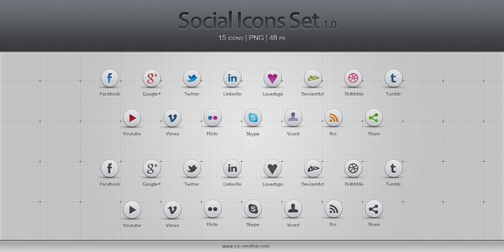 Pack d'icônes pour les réseaux sociaux. 15 icônes|png